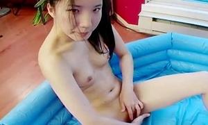 Skeletal tight ass Asian teen fingers will not hear of wet cunt