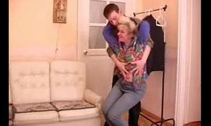 Full-grown granny seduces teenage boy
