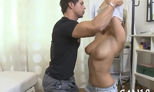 Hunk is licking babe'_s bald love tunnel at the kitchen counter
