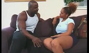 Bald black stud fucks busty black bitch'_s hairy snatch indoors