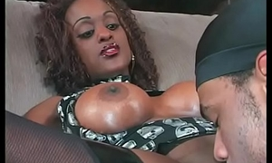 Sexy ebony slut gets her cunt licked then rides black cock