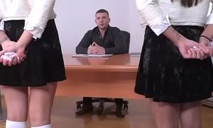 Naughty Schoolgirls Give Blowjob To Teacher In Classroom