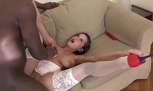 Teen beautiful big tits tries anal with black boyfriend takes cum on boobs