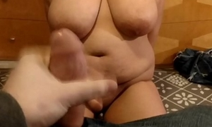Jerking off to my girlfriend'_s tits