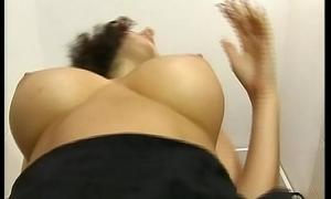 A slutty brunette gives a blowjob in a garage toilet