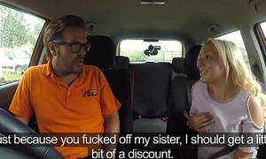 Skillful blonde bangs driving instructor